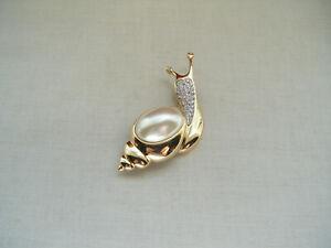 Vintage-Gran-Caracol-Broche-Pin-Diamante-Piedras-Imitacion-Perla