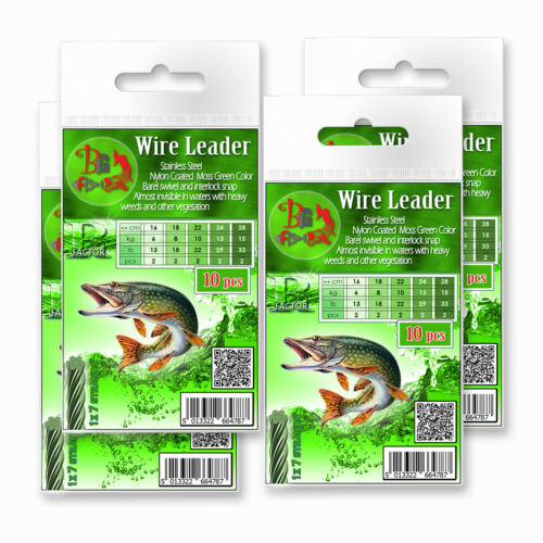 Pike Fishing Wire Traces R-Factor Bright Grey 10pcs Predator Soft Lure Jig Heads