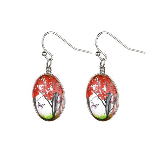 Verre Ovale Boucles D/'oreilles Pour Femmes Fait Main Naturel Sec Belle arbre de vie