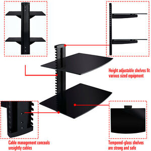 2 Tier 2 Dual Glass Shelf Wall Mount Bracket Under Tv