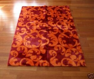 Image Is Loading Orange Burgundy Abstract Fl Faux Fur Rug 5x7
