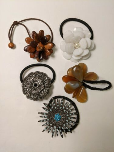 Vintage Hair Scrunchie Lot Of 5 With Flower Adornm