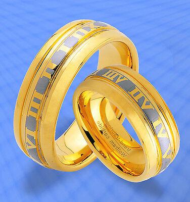 2 Wolfram Trauringe M. Gold Platierung & Gravur Gratis , Titan Look Ringe , Jw9 Duftendes (In) Aroma
