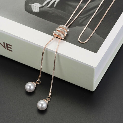 Women/'s Elegant Pearl Drop Spiral Pendant Sweater Chain Necklace Jewelry LH