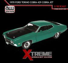 AUTOWORLD AMM1018 1:18 1970 FORD TORINO COBRA 429 COBRA JET GRABBER GREEN