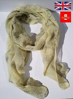 * Nuovo * Pastello Lemmon E Grigio Paisley Sciarpa Lunga Morbido Voile Di Cotone Fresco- Sangue Nutriente E Regolazione Dello Spirito
