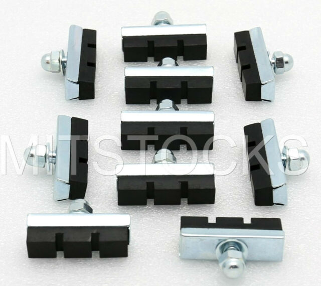 10 BOLT ON BICYCLE BIKE 10 SPEED BRAKE RUBBER PADS SHOES BMX MTB NEW