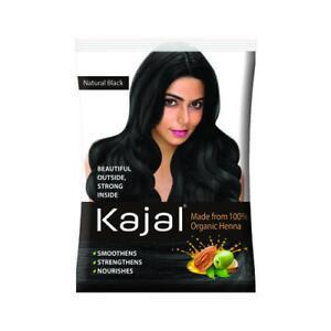 5 X12g Kajal Natural Black Henna Powder Hair Color Made From 100