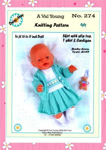 """1 Muñecas Tejer patrón número 274 para bebé nacido o 16/""""//17/"""" Muñeca. Daisy puede"""