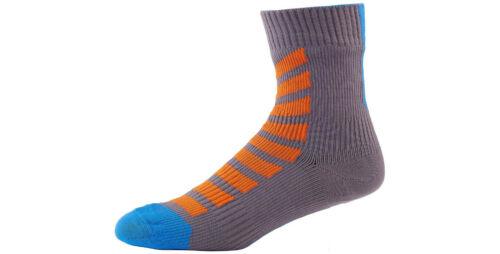 SealSkinz MTB Ankle Hydrostop Waterproof Socks Orange Blue Anth