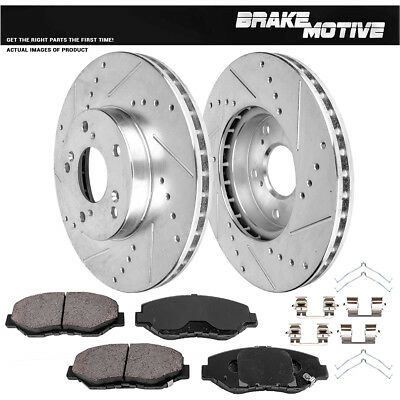 Ceramic Pads Fits Honda Accord Civic CRV Front Drilled /& Slotted Brake Rotors
