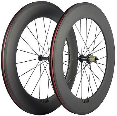 Carbon Fiber Wheels >> 700c 88mm Clincher Carbon Fiber Wheels Bike Wheels Front Rear Road Wheelset Ebay