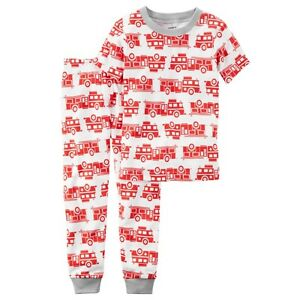68655894f Carter s Boy s Fire Truck Print Snug Fit Short Sleeve PJs 2-Pc ...