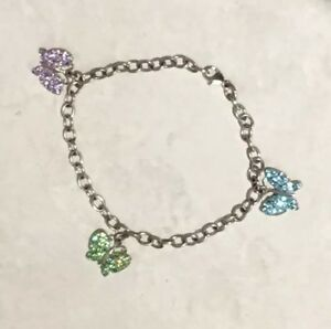 Details about Sterling Silver 925 CZ Crystal Butterfly Chain Bracelet  Stamped JJ 925 AU