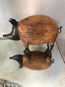 RARE-Statuary-PIG-Figurine-Wood-And-Metal-Piece-Of-Art