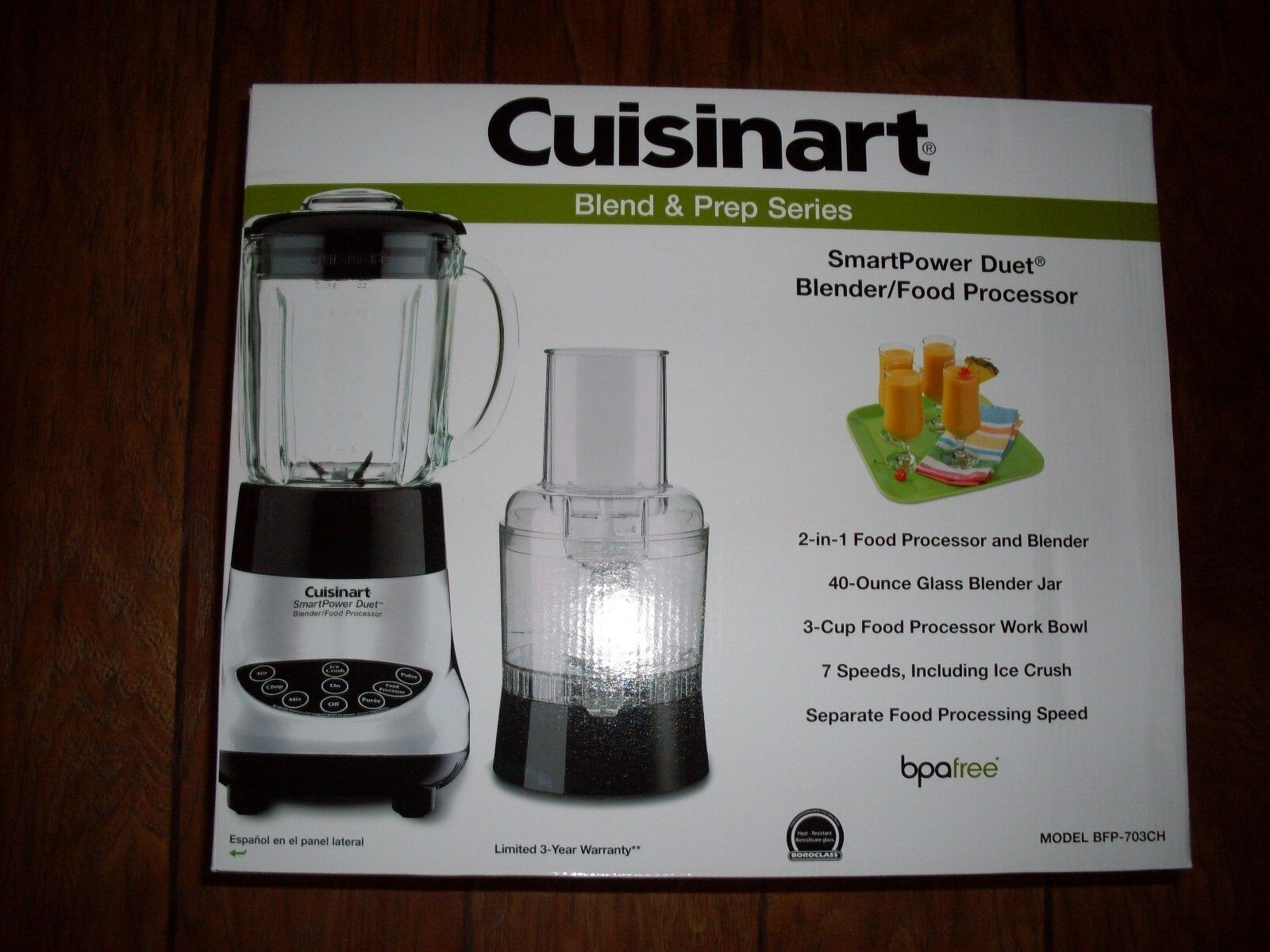 Cuisinart BFP-703CH Intelligent Duo Blender and Food Processor, bocal en verre chrome