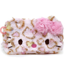 Sanrio Hello Kitty Pink Leopard Plush Fur Pouch Bag Pencil Case Cosmetic Bag