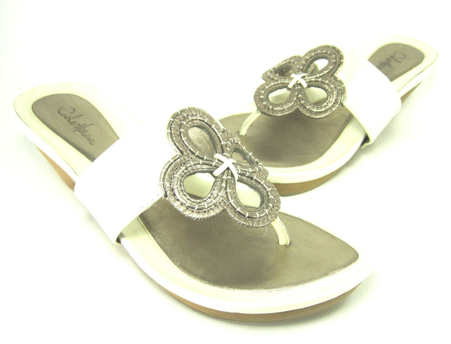 COLE HAAN WOMENS D21791 FLORAL THONG SANDAL CREAM LEATHER US SIZE 6 MEDIUM (B M)