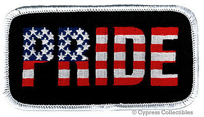 AMERICAN PRIDE IRON-ON PATCH NEW EMBROIDERED US FLAG PATRIOTIC STARS STRIPES USA