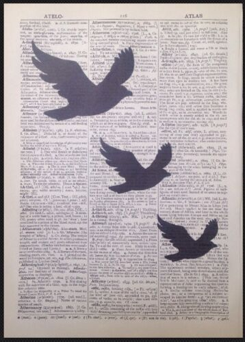 Vintage Bird Dictionary Page Print Picture Wall Art Swallow Shabby Chic Upcycled