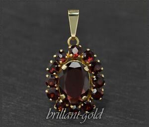 Granat-Anhaenger-mit-12-5-ct-aus-333-Gold-Ovaler-Granat-mit-9ct-Gelbgold-Antik