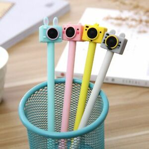 4pcs-Cute-Camera-Gel-Pen-Cute-Black-Ink-Signature-Pens-Kawaii-Stationery-New