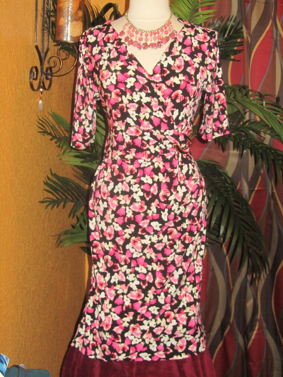CHARTER CLUB NWT  100 M 1X pink confetti wrap flower women's dress