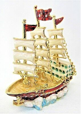 YTC Summit 3 Mast White Sails Jeweled Box Small Trinket Container
