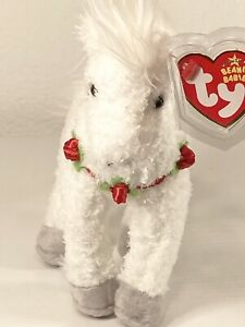 TY HOLLYHORSE the CHRISTMAS WHITE HORSE BEANIE BABY