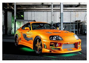 FAST AND FURIOUS SUPRA ORANGE CAR WALL ART CANVAS PICTURE PRINT ...