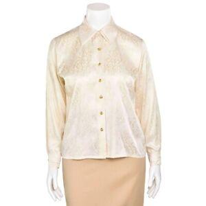 Escada-Margaretha-Ley-Cream-Tonal-Lace-Print-100-Silk-Blouse-Shirt-Top-sz-38-8