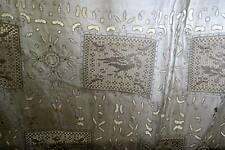Stunning Chateau antique FRENCH white Lace CURTAIN DRAPERY Griffins birds 60/80""
