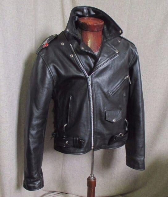 Leather Motorcycle Jacket Black Size 48