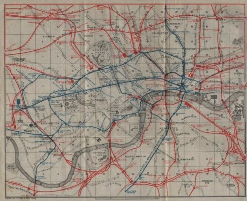 BAEDEKER 1906 map Railways /& underground tube lines CENTRAL LONDON TRANSPORT