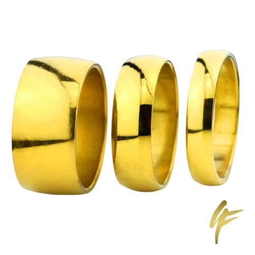Anillo de acero inoxidable oro brillante-pulido 2-10 mm de ancho señores señora anillo de pareja