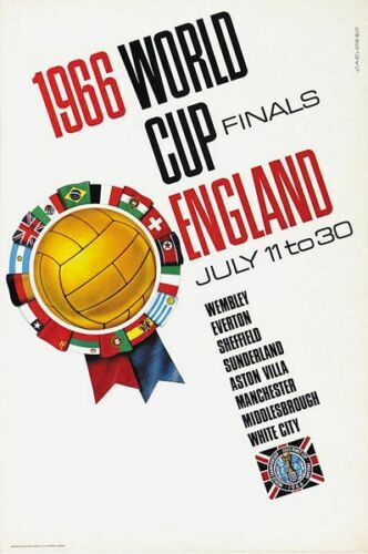 1966 Football World Cup Finals England Promotional Poster A3 Print