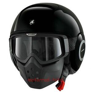 NEW-SHARK-Helm-RAW-black-schwarz-glaenzend-S-55-56-Motorradhelm-Streetfighter