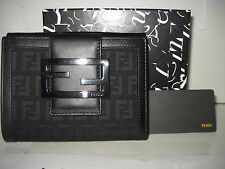 $550 NEW FENDI Black FF Logo Leather Bifold Credit Card Case Coins Purse Wallet