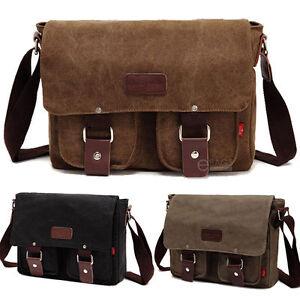 51da7922c10 Men s Vintage Canvas Schoolbag Satchel Laptop Shoulder Messenger Bag ...