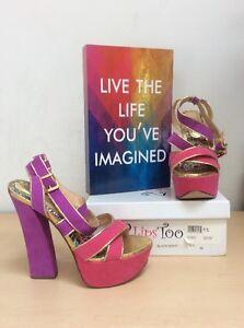 2-Lips-Too-Too-Sassy-Women-039-s-Purple-Fushia-Gold-Platform-Heels-Size-8-5M-NWOB