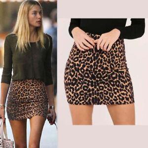 4d9938eb9 Womens Sexy Leopard Print High Waist Mini Skirts Party Wear Bodycon ...