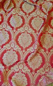 Damask-Designer-Brocade-Jacquard-Fabric-54-wide-sold-by-yard-red-scarlet