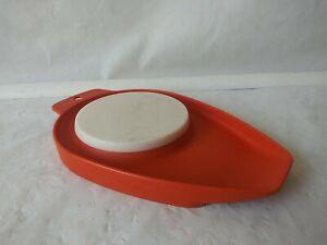 "Tupperware Chop N Pour Orange & White Cutting Chopping Board 9.5"" Long #1432"