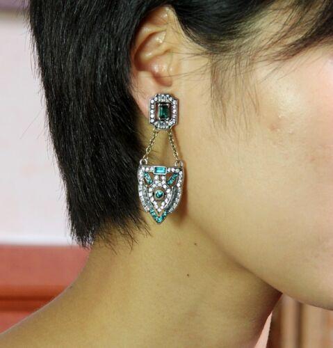 Ohrringe` Ohren Clips Art Déco Grün Quadrat Fein Silber Class Vintage