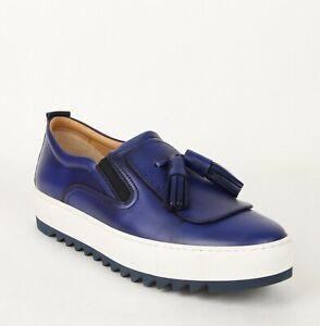 Salvatore-Ferragamo-Men-039-s-Lucca-Blue-Slip-On-Leather-Tassel-Sneaker-665252