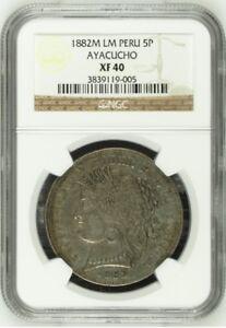 1882 Peru 5 Pesetas Ayacucho NGC XF40 1880 1881 cinco lima reales pasetas chile