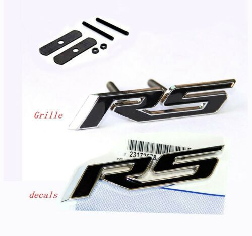 2x OEM Grille+Decal RS Emblem Badge 3D front For Camaro Chevy series Chrome BK L