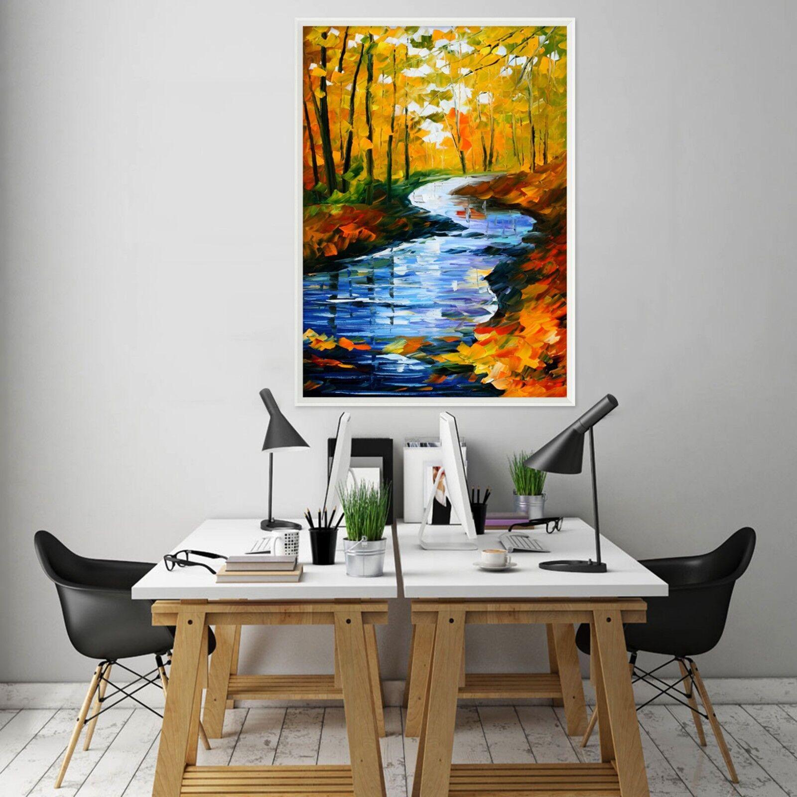 3D Pintura Bosque Creek 2 Póster Enmarcado Decoración del Hogar Pintura de Impresión Arte Wallpaper