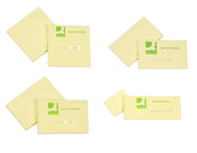 Haftnotizen Klebezettel Notes Gelb, Q-Connect Post, verschiedene Größen wählbar