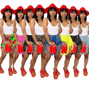 Fashion-Women-Casual-Club-Short-Denim-Pants-Denim-Tassels-Bodycon-Short-Jeans